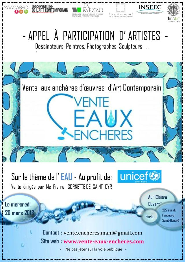 Flyer appel artistes VenteEAUXEncheres Unicef